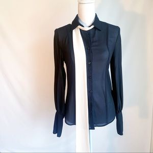 NWOT Sheer black long sleeve button up blouse XS